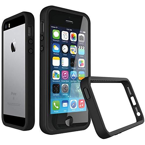 iPhone 5 / 5S / SE Bumper Case [RhinoShield CrashGuard] | Schock Absorbierende Schutzhülle mit minimalistischem Design [3,5 Meter Fallschutz] - Schwarz - Case Bumper Iphone Schwarz 5