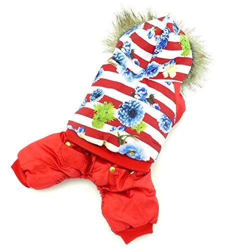 selmai Pet Puppy Katze klein Hund Kleidung Warm Fleece Gefüttert Trim Mantel mit Kapuze Gepolstert Jacke Jumpsuit Flower gestreift (Dies Stil Run klein, die nächste Größe bitte) (Pullover Trim Leder)