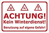 Winter-Schild - Achtung - Kein Winterdienst - Benutzung auf eigene Gefahr - 30x20cm   stabile 3mm starke Aluminiumverbundplatte – S00018-020-E +++ in 20 Varianten erhältlich