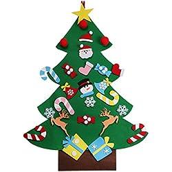 Tinksky Árbol de Navidad de fieltro DIY con 26pcs adornos desmontables Árbol de Navidad colgante de pared Regalos de Navidad para niños decoraciones de Navidad