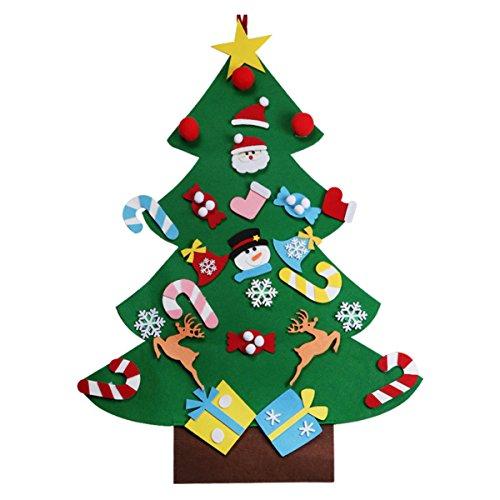 Tinksky Weihnachtsbaum DIY Filz mit 26 stücke Abnehmbare Ornamente Wandbehang Weihnachtsbaum Kinder Weihnachtsgeschenke für Weihnachtsschmuck