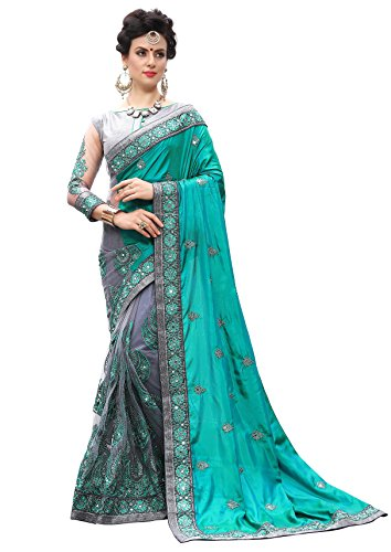 Nivah Fashion Women\'s Silk & Net Half N Half Sari Embroidery Work With Diamond\'s Material Saree (Firozi..K710)