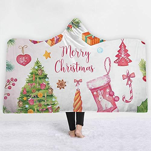 ISAAC ENGLAND Weihnachtsbaum Candy Cane Socken Geschenkbox 3D Gedruckt Plüsch Mit Kapuze Decke für Erwachsene Kid Warm Wearable Fleece Werfen Blankets-150 * 200 cm