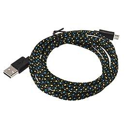 Culater® Cables USB,3M/10FT Micro Cargador Sincronización Cable de Datos para Android (Negro)