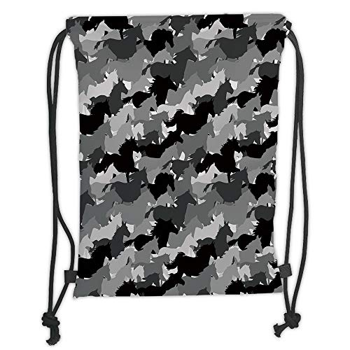 Western Silhouette (WTZYXS Drawstring Sack Backpacks Bags,Horse Decor,Herd of Skipping Horses Monochrome Silhouettes Western Wildlife Theme,Grey Silver Black Soft Satin,5 Liter Capacity,Adjustable.)