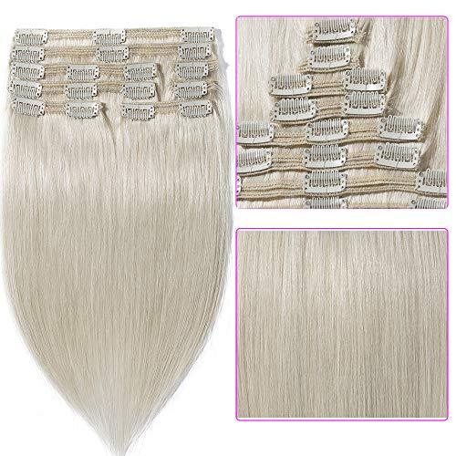 35cm extension clip capelli veri bianco double weft lunga 14