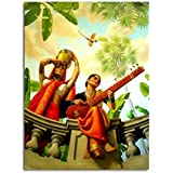 Tamatina Raja Ravi Varma Canvas Paintings - A Lady Playing Veena - Academic Art - Paintings For Home Decor - Paintings For Bedroom - Paintings For Living Room - Indian Canvas Paintings - Paintings For Wall - Raja Ravi Verma Paintings