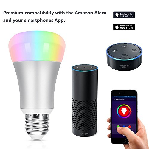 Wifi Smart Led Light Bulb Work with Amazon Alexa Home Automation Night Light 60W Equivalent Voice Control Led Bulb Color Changing Mood Light Work With IOS/Android Tablet for Relaxation, Party Lights, or Decorative Bulbs SLE03 Silver