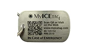 MyICETag Engravable Steel Anti-Lost Scanned GPS Location Dog Tag for your Pet, Puppy, Kitten, Cat