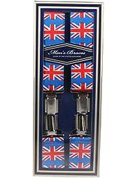 Adjustable 35mm Union Jack Print Adjustable Mens Heavy Duty Suspender Braces Made In England