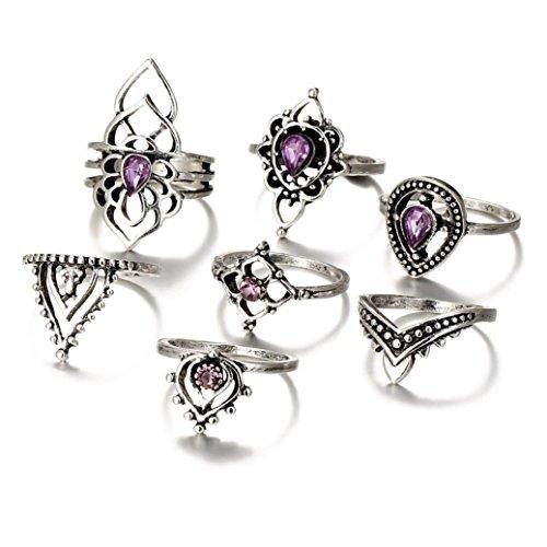 Anelli donna, ashop anello donna set di 7 anelli da donna vintage in argento bohémien con anelli a nocca, anelli articolari
