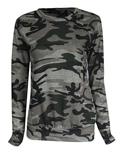 Fast Fashion - Set Print Accros Joggeurs Survêtement Sweatshirt - Femmes Armée Gris