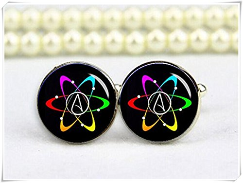 chen jian xin Atheist Atom-Symbol, Atom Manschettenknöpfe, mit Geschenk
