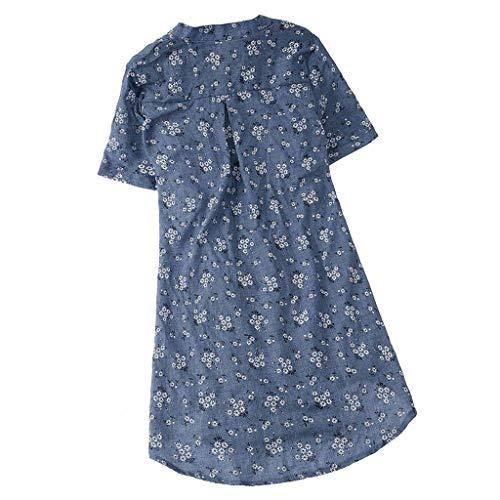 iHENGH Damen Bequem Mantel Lässig Mode Jacke Frauen Frauen mit Langen Ärmeln Vintage Floral Print Patchwork Bluse Spitze Splicing Tops(Himmelblau-a, XL)