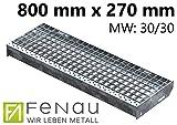 Fenau | Gitterrost-Stufe (R11) XSL – Maße: 800 x 270 mm - MW: 30 mm / 30 mm - Vollbad-Feuerverzinkt – Stahl-Treppenstufe nach DIN-Norm | Fluchttreppen geeignet/Anti-Rutsch-Wirkung