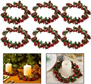 Set of 6 4inch Christmas Candle Ring- Xmas Artificial Beaded Berries Candle Rings with Pinecones Small Wreaths