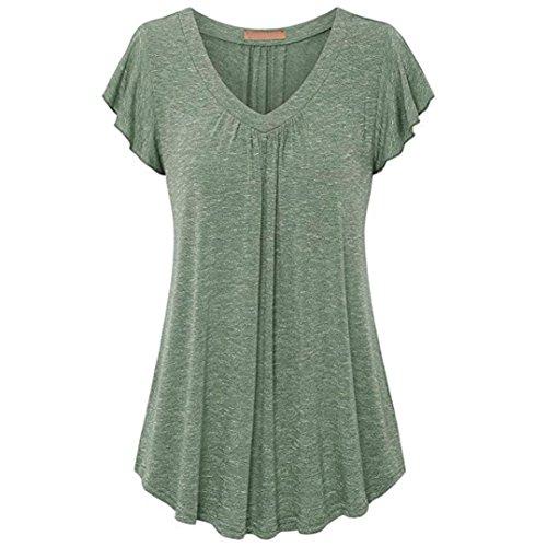 TITIU Damen Frauen Plus Size Plissee Kurzarm V-Ausschnitt Top Tunika Bluse Shirt Oberteil Tees(Grün,L) (Jumper V-ausschnitt Plissee)
