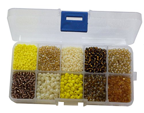 Rocailles Perlen 2mm 3mm 4mm 6mm Stiftperlen Gold Gelb Braun Set Silbereinzug Matt mit PerlenBox 200g AM5