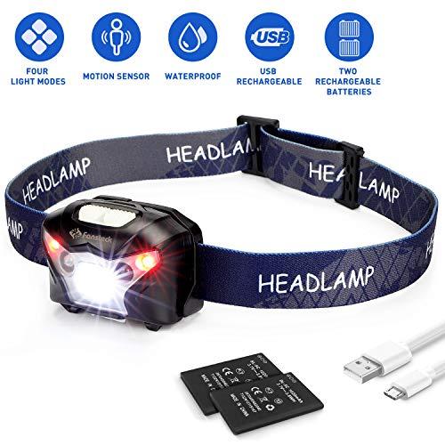 Linterna Frontal, Fansteck Linterna LED de Cabeza Alta Potencia, Luz Frontal USB Recargable, 4 Modos con Sensor de Movimiento, Ajuste de 90°, Impermeable IPX4 para Ciclismo,Carrera, Pesca, Camping.