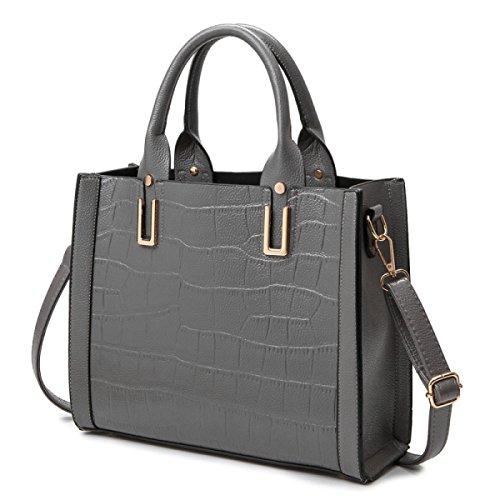 ZPFME Womens Tote Handtasche Mode Handtasche Herbst Und Winter Krokodil Muster Schultertasche Party Retro Grey