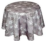 Tischdecke Pflegeleicht Hellgrau Polyester Tafeltuch Blätter Anthrazit Decke Herbst (Tischtuch rund 150 cm)