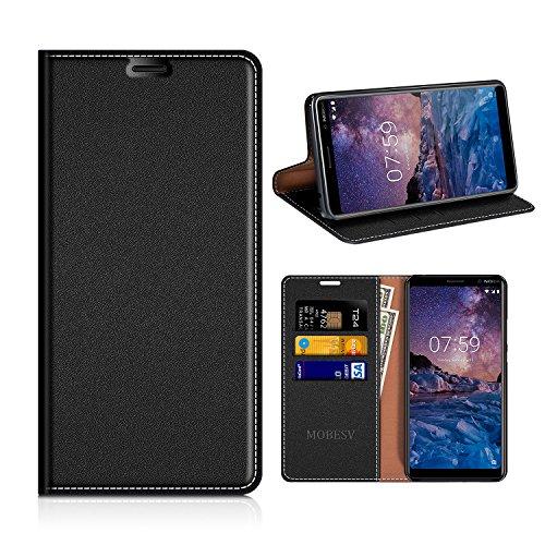 MOBESV Nokia 7 Plus Hülle Leder, Nokia 7 Plus Tasche Lederhülle/Wallet Case/Ledertasche Handyhülle/Schutzhülle mit Kartenfach für Nokia 7 Plus - Schwarz