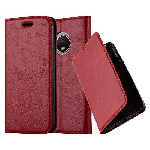 Cadorabo Hülle für Motorola Moto G5 Plus - Hülle in Apfel ROT – Handyhülle mit Magnetverschluss, Standfunktion und Kartenfach - Case Cover Schutzhülle Etui Tasche Book Klapp Style
