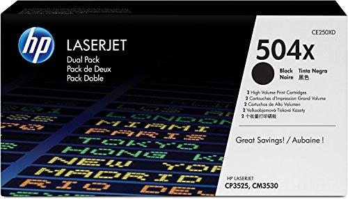 Preisvergleich Produktbild HP 504X 2er-Pack (CE250XD) Schwarz Original Toner mit hoher Reichweite für HP Color Laserjet CP3525, HP Color Laserjet CM3530