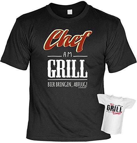 Griller T-Shirt Chef am Grill BBQ Shirt geil bedruckt Geschenk Set mit Mini Flaschenshirt Schwarz