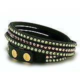 Spark Damen Armband Alcantara dunkelgrün 300 Swarovski Elements Grün/Gold/Grün, doppelte Länge, 3 Einzelreihen