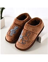 GAOHUI Slippers Los Hombres Otoño Invierno Antideslizante Térmico Terciopelo Artificial Zapatillas Caricatura Amantes' Zapatos,Café,38-39