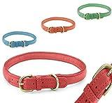 Pear - Tannery - Fashion Line: Hundehalsband Aus Weichem Vollrindleder, Handgerollt, XL 58-65cm, Rot