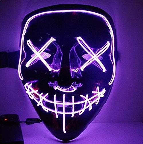 Yxsd Halloween Maske LED Leuchten Party Masken Cosplay Kostüm Liefert Glow In Dark (Farbe : Purple)