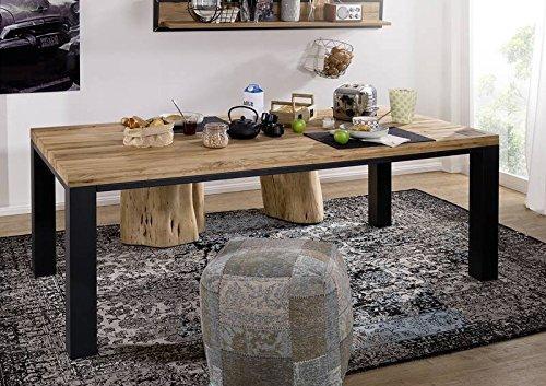 Table à manger 240x100cm - Métal et Bois massif de chêne sauvage huilé (Bois naturel) - VILLANDERS #121