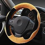 XuanMax Winter Plusch Lenkradbezug Universal Fahrzeug Lenkradhulle Weich Warm Lenkradschoner Atmungsaktiv Anti-Rutsch Lenkrad Abdeckung Auto Steering Wheel Cover Lenkradabdeckung 38cm - Gelb