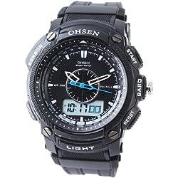 Orrorr OHSEN LCD Dual Core Mens Women Sport Date Day Stopwatch Black Rubber Band Watch Black