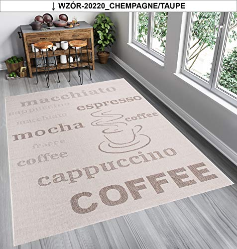 Tapiso FLOORLUX Teppich Sisal Optik Flachgewebe Braun Beige Modern Schrift Buchstaben Coffee Design Wohnzimmer Küche Indoor 160 x 230 cm