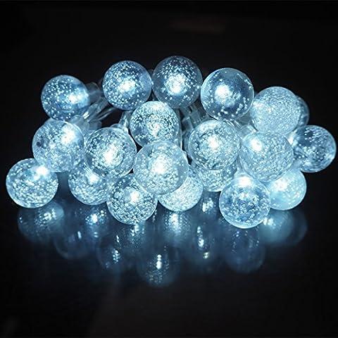 ISIYINER Guirlandes, Batterie Alimenté, 5m 25 LED Boule à bulles acrylique Lumière Décorative Avec d'éclairage Pour Extérieure, Jardin, Maison, Mariage, Terrasse,Fête De