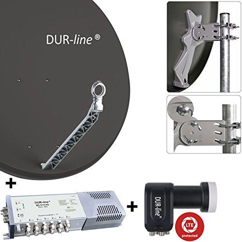 """DUR-line 12 Teilnehmer Set - Qualitäts-Alu-Sat-Anlage """"DVB-T2 Alternative"""" - Select 85/90cm Spiegel/Schüssel Anthrazit + DUR-line Multischalter + LNB - Satelliten-Komplettanlage - für 12 Receiver/TV [Neuste Technik - DVB-S/S2, Full HD, 4K/UHD, 3D]"""