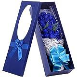 Herramienta para el cuidado de la salud flores artificiales para boda decoración, decoración para el hogar, regalo para el día de la madre, día del padre 33rosas ramo jabón creativo cumpleaños, San Valentín flores de jabón a mano, 33gran flor azul