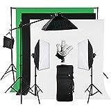 Softbox studio kit 5 en 1 pour photo photographie boîte à lumière 15*Ampoule lampe 35W avec 3*Fond en coton NOIR BLANC VERT et support de fond éclairage continu kit