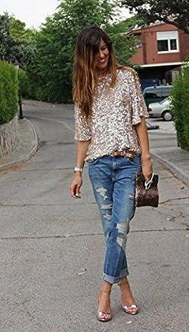 calistous exquis Style Pittoresque pour Lady Haut à Sequins pour femme 3/4pour Femme Bling T-shirt à manches Tops M, Coton,
