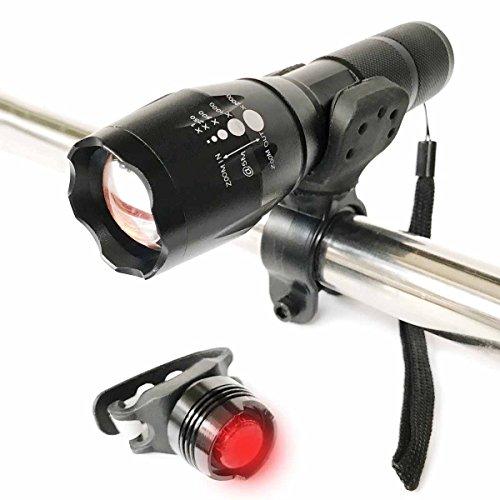 Fahrradbeleuchtung, Bestele LED Radfahren Fahrrad Lichter Wasserdichte Fahrradlicht, 5 helle Modi Gebirgsfahrrad-Licht, 800 Lumen, Scheinwerferfront & Rücklichtern mit Zoombar LED Fahrradlampe Set