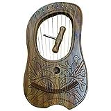 Lyre harpe gravée en bois de sheesham 10cordes en métal Housse de transport gratuite et clé