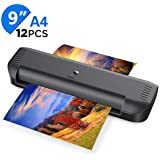 A4 Laminator, ABOX 2019 Upgrade Thermal Laminator Machines for Home Office School Lamination with 12 Laminating Pouches & Jam Release Function, OL141, Black