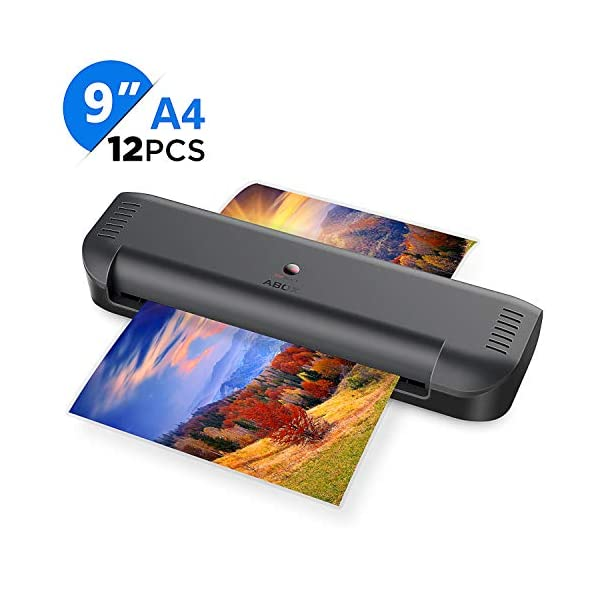 A4 Laminator, ABOX 2019 Upgrade Thermal Laminator Machines for Home Office School Lamination with 12 Laminating Pouches & Jam Release Function 51AQTdfQCtL