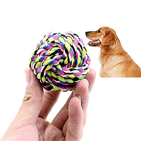 Kauspielzeug für Hunde,KIMODO 4PCS Hündchen-Haustier-Spielzeug Baumwolle geflochten Knochen Seil,Chew Toy With Knot Fun Tough Strong Puppy Dog Pet Tug War Play Cotton Rope Ball( zufällige Farbe)
