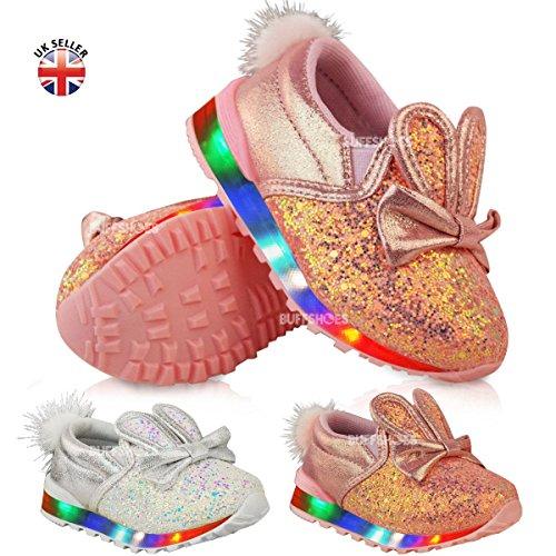 Baskets pour bébé/enfant - lumineuses (LED) - en forme de lapin - fille