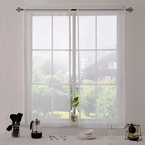 Deconovo tende voile per finestre tende trasparenti con merletto 60x160 cm bianco 2 pannelli
