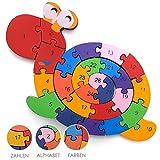 Spannendes Zahlen-Puzzle Holz Schnecke - Pädagogisches Lern-Spiel - Zahlen von 1 bis 26 - Buchstaben von A bis Z - Klein-Kinder ab 3 Jahre